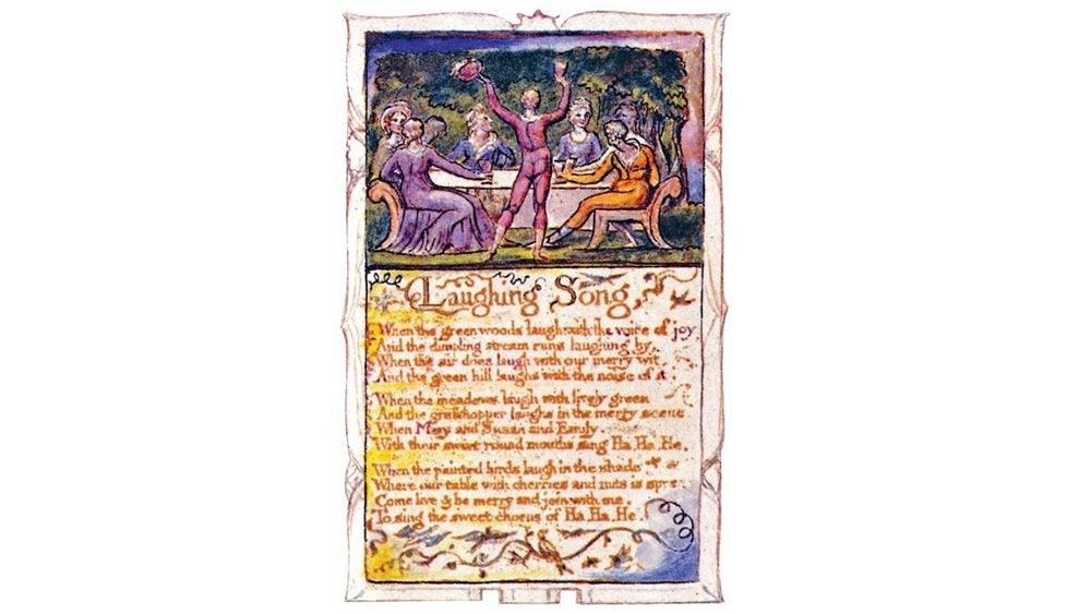 written copy of The Laughing Song with illustration of happy people around a table